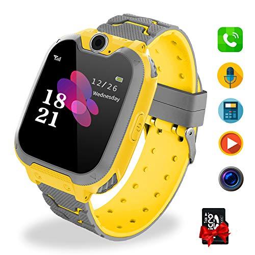 Smartwatch Niños Telefono Estudiante, Lata Realiza Llamadas Mensajes Mp3 Musica Reloj Infantil Reloj Digital Reloj Despertador Juegos Reloj Inteligente para Niños de Edad 3-12 Niño Regalo (Amarillo)