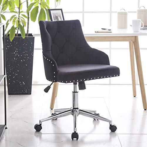Hironpal Black Crushed Velvet Fabric Home Office Chair Swivel High Adjustable Computer Desk Chairs Graceful Reception Chairs