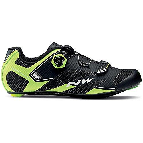 Zapatillas de bicicleta de carretera Northwave Sonic 2 Plus Black / Neon Yellow / White, Tamaño:gr. 44
