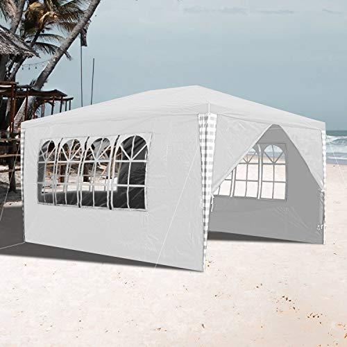 VINGO 3x4m Pavillon Wasserdicht Gartenpavillon weiß Stabiles Partyzelt Festzelt Material PE-Plane ohne Seitenteile für Garten Festival Party