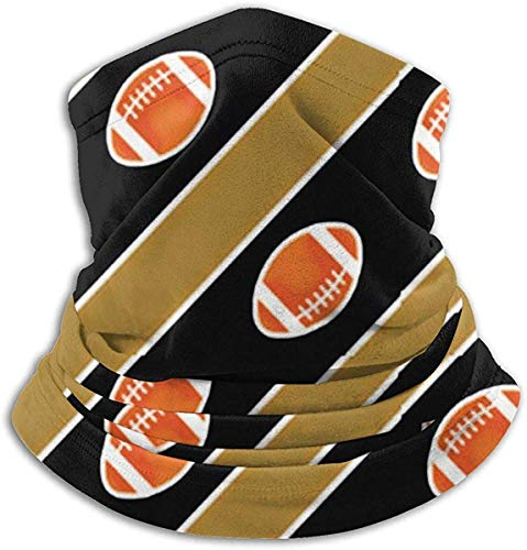 CVDGSAD Mikrofaser Nackenwärmer Football Stripes Gold und Schwarz Nackenschutz Tube Ear Warmer Stirnband Schal Gesichtsmaske Sturmhaube