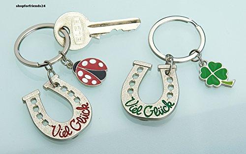 Schlüsselanhänger Hufeisen Viel Glück mit roter Schrift