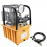 Hydraulic Electric Pump 750W Double Acting Hydraulic Driven Pump 110V 7L Solenoid Pedal Hydraulic Power Pack Cylinder Hydraulic Pump with 2 Quick Connector & 2 Oil Hose (5.9ft)