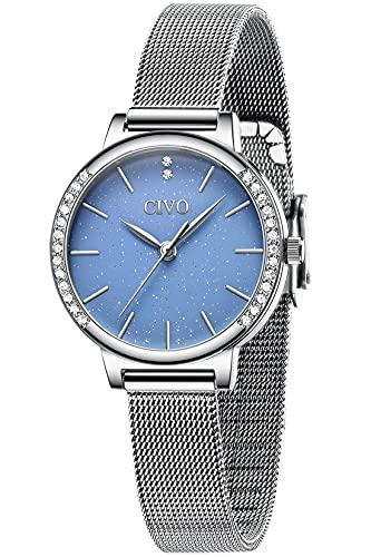 CIVO Damen Uhr Wasserdicht Sternenhimmel Damenuhr Edelstahlgewebe Armbanduhr Damen Uhren Elegant Einfach Uhr Damen Klassisch Business Kleid...