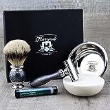 Set de 4 cuchillas de afeitar para hombre con punta plateada, brocha de afeitar y maquinilla de afeitar, cuenco de acero inoxidable y jabón Haryali London para afeitado en húmedo