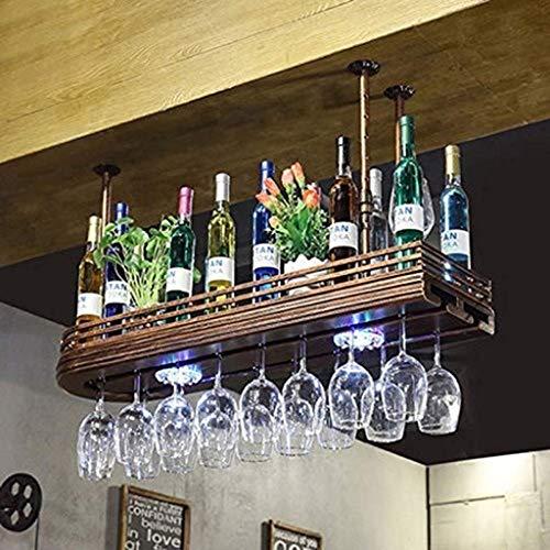 MTCGH Shelf,Home Storage Shelves,Shelf European Restaurant Bar Creative Double Wine Glass Goblet Cup Holder Wrought Iron Telescopic Boom Wine Glass Storage,60X27X12Cm