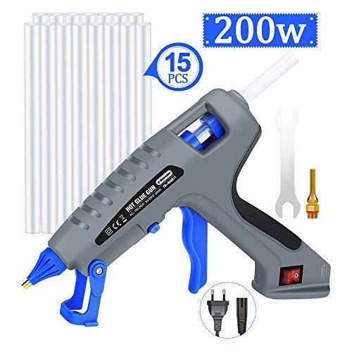 E·Durable 200W pistola silicona, con 15pcs 19cm Barra de pegamento control automático de temperatura industrial