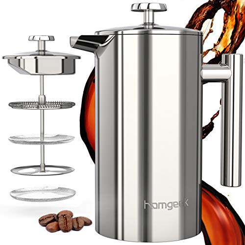 homgeek Caffettiera Francese 1000ML, Caffettiere a Pistone 8 Tazze Caffettiera French Press, 3 in 1 Doppia Parete in Acciaio Inossidabile, con Filtro Riutilizzabile in Acciaio Inossidabile 304