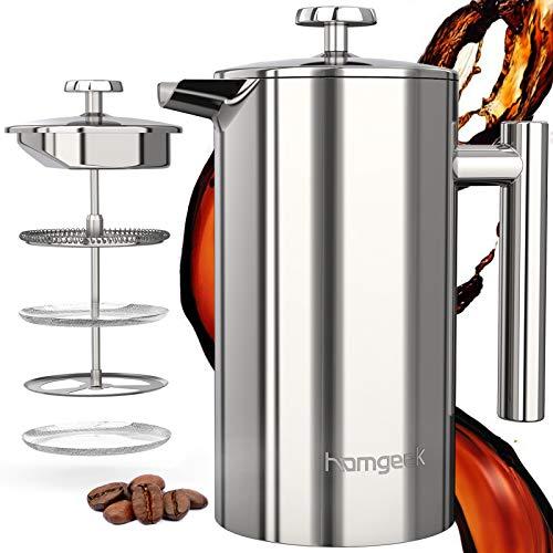 homgeek French Press Kaffeebereiter 304 Edelstahl, Kaffeebereiter Doppelwandig Isoliert 1 Liter (8 Tassen), Kaffeepresse mit 1 Extra Sieben, Kein Kaffeesatz, Silber