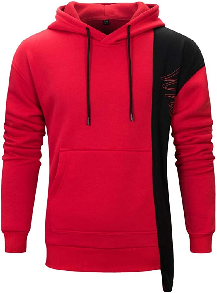 MODOQO Men's Hoodies Casual Cotton Patchwork Pullover Long Sleeve Lace Up Sweatshirt with Pocket