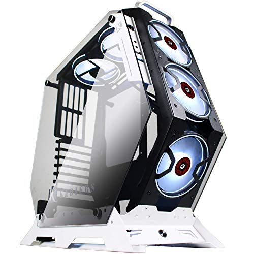 KEDIERS ATX Case Open Frame Panoramic Viewing Gaming Computer Case Pc Case Mid Tower Case with 2 Tempered Glass RGB Fans