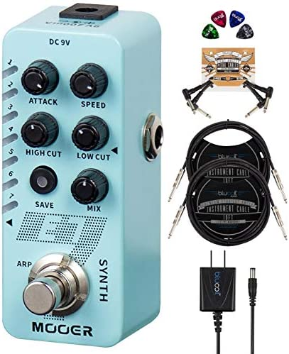 MOOER E7 Polyphonic Guitar Synth Pedal Bundle with Blucoil 9V AC Adapter 2 Pack of 10 Straight product image