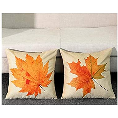 Gotd 2Pack Christmas Decorative Cushion Warm Maple Leaf Cotton Linen Pillow Throw Case Cover Pillowcase Cushion Cover for Sofa Throw Pillow Case Christmas Gifts 18  X18  (Pack of 2)