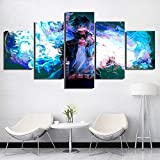 SFXYJ 5 Pieces Modern Canvas Print - DABI Blue Flames Posters - HD Wall Art My Hero Academia Pictures - The Best Home Decor for Living Room/Bedroom,A,20×30×2+20×40x2+20x50×1