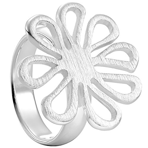 Vinani Ring Design Blume offen mattiert massiv Sterling Silber 925 verspielt Blüte Größe 58 (18.5) 2RMT-58