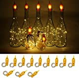 YJFWAL Wine Bottle Lights with Cork 12 Packs Warm White Battery Operated 6.6ft 20 LED String Lights with Candle Flame Starry Fairy Lights for Party Christmas Halloween Wedding Indoor Decoration