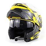 WMING Motocicleta Bluetooth Casco/Multi-Función De Doble Lente Anti-Niebla Casco con Auricular Bluetooth/Hombres Y Mujeres Cuatro Estaciones Casco Seguro Flip,Yellow,M