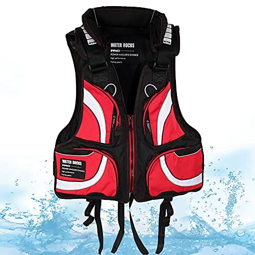 Un Chaleco Salvavidas Ajustable Profesional Ayuda a la flotabilidad Chaleco Salvavidas 97 N Diseñado para un Peso de 110 a 220 Libras Hombres para Kayak, Bote, Vela,Rojo