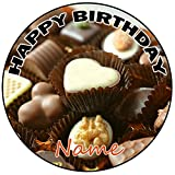 AK Giftshop Decoración para tarta de cumpleaños de chocolates personalizable, redonda, 20 cm, cualquier edad y nombre