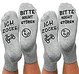 Gaming Socken, nicht stören Ich bin Lustige Söckchen, Do Not Disturb I'm Gaming Neuheit Baumwollsocken Gamer Knöchel Socken Rutschfeste Haussocken Wintersocken Geschenk für Damen Herren Spieler