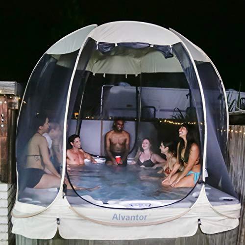 Alvantor Screen House Room Camping Tent Outdoor Canopy Dining Gazebo Pop Up Sun Shade Hexagon Shelter Mesh Walls Not Waterproof 10'x10' Beige Patent