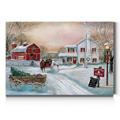 Renditions Gallery Christmas Tree Farm Wall Art, Country Winter Scene with Red Barn, Charming Decorations, Premium Gallery Wrapped Canvas Decor, Ready to Hang, 8 in H x 12 in W, Made in America