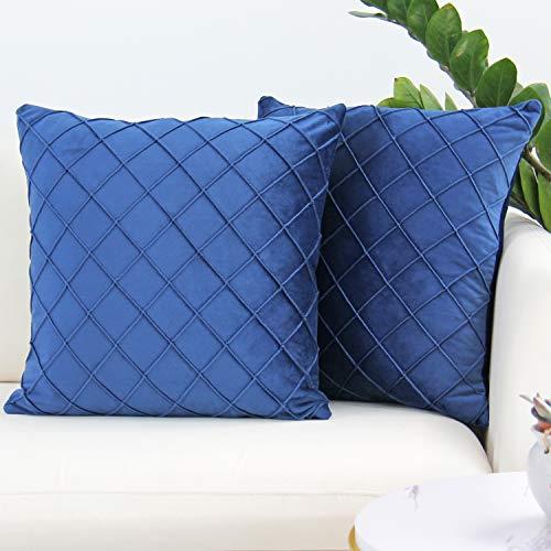 JOJUSIS Samt Throw Kissenbezüge Plissee Kissenbezüge Dekorative Weiche Kissen Fall für Couch Sofa Bett 2 Stück 50,8 x 50,8 cm Marineblau