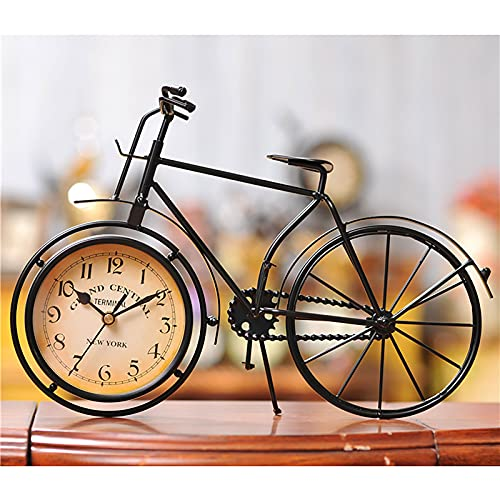 ZTSS Vintage Iron Bicycle Shape Table Clock Classic Non-Ticking Silent Retro Decorative Bike Clock for Living Room Study Room Cafe Bar Office, Creative Gifts for Children