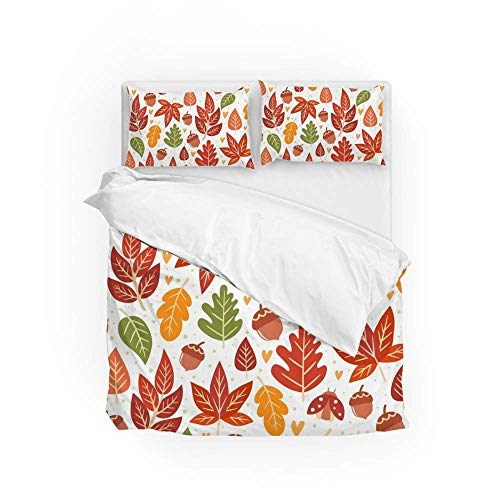 Soft Quilt Bedding Set Forest Autumn Leaves Duvet Cover with Pillowcases 2 Pieces Set 135 x 200 CM,Single Size