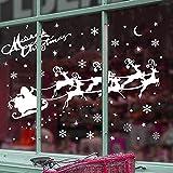 ASANMU Fensterbilder Weihnachten Fenstersticker 4 Stücke 43 * 30 cm Wiederverwendbare Winterliche Fenster Aufkleber Wandtattoo PVC-Sticker Schneekristallen und Schneesternen (Weihnachtshirsch) - 2