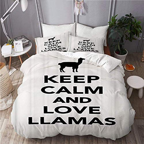 Jnsio Duvet Cover Keep Calm and Love Llamas 100% Washed Microfiber 3pc Bedding Set with 2 Pillow Shams for Hotel Bedroom Decoration C1274