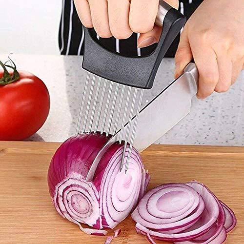 EFVH Food Slice Assistant, Stainless Steel Onion Holder for Slicing, Kitchen Gadgets Kitchen Utensil Holder-Stainless Steel Vegetable Holder Tomato Slicer Meat Slicer