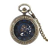 UIEMMY Pocket Watch Mystical Black Dial Mechanical Pocket Watch Transparent Hunter Blue Roman Numerals Display Hand Winding Pocket Watch for Men