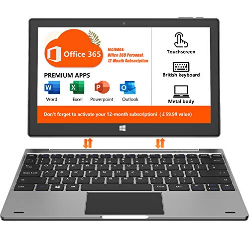 Jumper Touchscreen Laptop, with Microsoft Office 365 Notebook Computer 4GB DDR4, 64GB eMMC 11.6 FHD inch 2 in1 Laptop/Tablet PC Intel Celeron Quad Core CPU Metal Body British Keyboard Windows 10 Grey