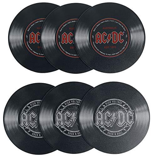 AC/DC Schallplattenunter- Setzer 6-teilig Bedruckt, aus Hart-PVC und rutschfestem Zellkautschuk.