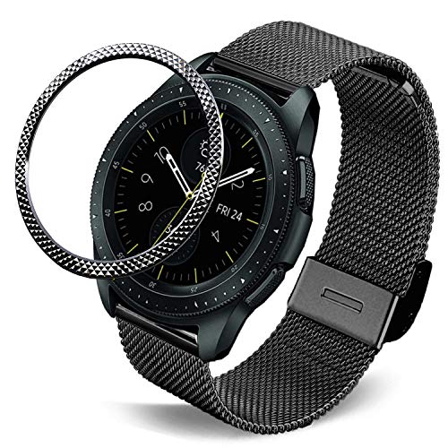 DEALELE Correa compatible con Samsung Gear Sport/Galaxy Watch 42 mm, 20 mm de acero inoxidable con bisel de metal, carcasa de repuesto para mujeres y hombres, color negro
