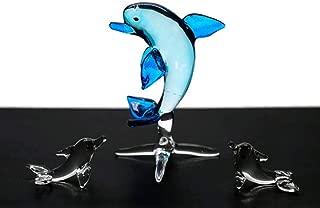 ChangThai Design 3 Pcs Aquarium Light Blue Dolphin HandBowl Glass Dollhouse Miniatures Decoration Figurine Collection