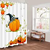 Htovila Halloween Kürbis Duschvorhang 180x180 Anti-Schimmel Wasserdicht mit 12 Duschvorhangringe aus Waschbar Polyester