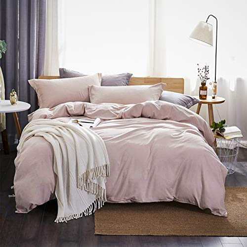 Dreaming Wapiti, 100% Washed Microfiber 3pcs Bedding Duvet Cover Set,Solid Color-Soft and Breathable with Zipper Closure & Corner Ties (Pink Mocha,Queen), 3 Peices