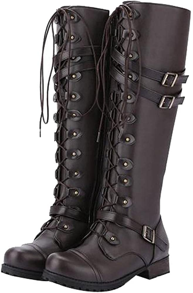 Boots for Women Steampunk Vintage Gothic Style Knee High Booties Retro Punk Buckle Combat Military Cowboy Cowgirl Platform Boots