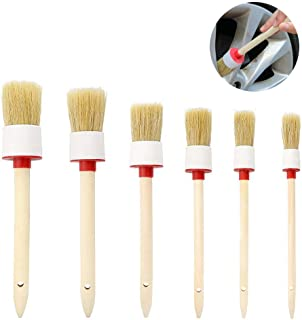 Auto Detailing Brush Set Car Motorcycle Stiff Cleaner Brush TEEPAO 6 Pcs Natural Boar Bristle Brush for Cleaning Engine/Wheel/Interior/Exterior/Emblems/Car Air Conditioner