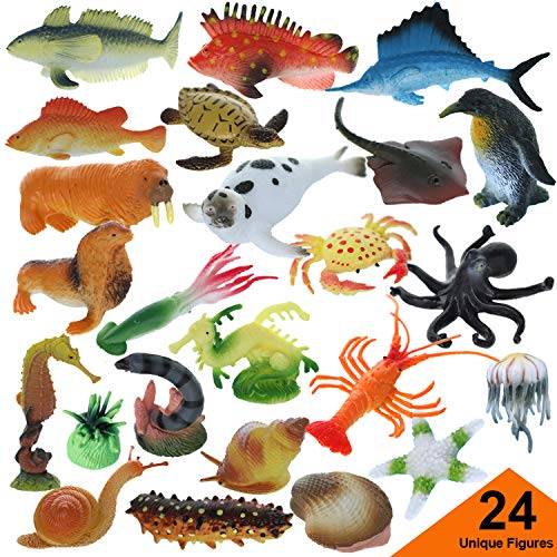 GiftExpress 24 Pcs Assorted Ocean Sea Animals Figures, Realistic Sea Creatures Toy Figures, Under The Sea Life Figures, Educational Toy, Easter Egg Filler, Cupcake Topper, Aquarium Decorations