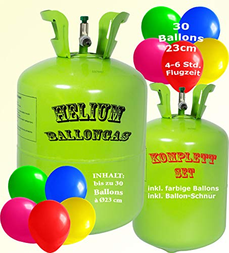 trendmile Premium Helium Ballongas Set - Heliumflasche für 30 Ballons inkl. bunten Latex Ballons 23cm + Schnur (1x Gas 30 Ballons)
