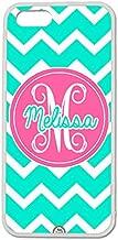 iPhone 5C Case, ArtsyCase Turquoise Pink Chevron Monogram Personalized Name Phone Case for iPhone 5C (White)