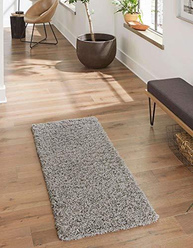 Unique Loom Solo Solid Shag Collection 3128008 Alfombra de Felpa Moderna Gris Nube (70 x 200)