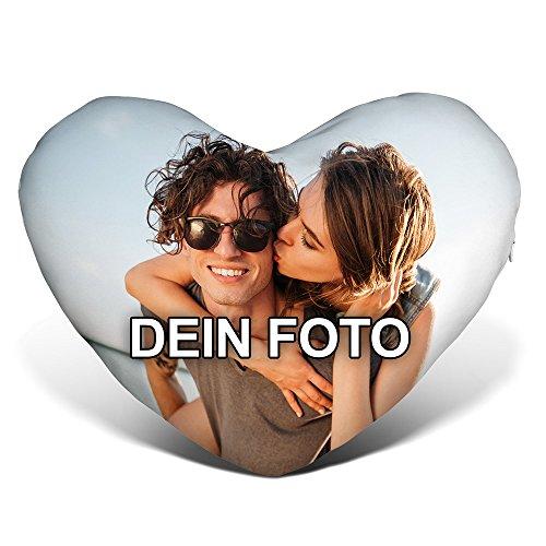 PhotoFancy® - Herzkissen mit Foto Bedrucken - Fotokissen in Herzform selbst gestalten (Panorama Herzkissen mit Foto)