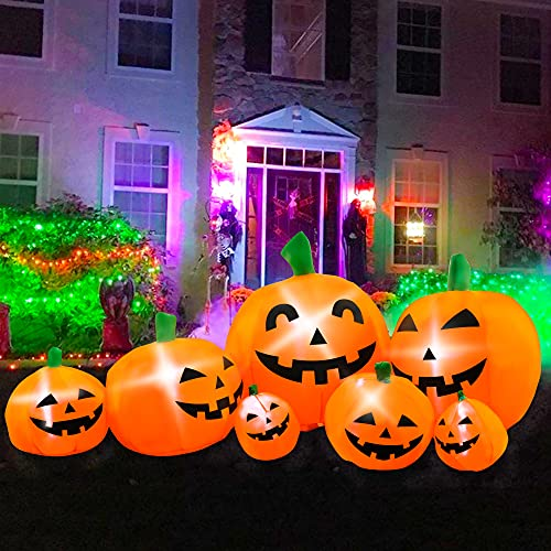 BLOWOUT FUN 10ft Long Inflatable Halloween Pumpkin Decoration, LED Blow Up Lighted Decor Indoor Outdoor Holiday Art…