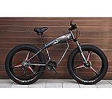 URPRU Bicicleta de Bicicleta de montaña con Ruedas de 26 Pulgadas para Adultos Bicicleta MTB rígida Fat Tire Marco de Acero de Alto Carbono Freno de Disco Doble-Negro_27_Speed