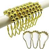 Ai Hang Doppel-Duschvorhang-Ringe, Edelstahl, rostfreies Metall, Doppelrollen-Gleit-Duschhaken-Ring für Badezimmer, Fenster, Duschstangen, Set mit 12 Haken gold