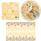 Winnie the Pooh - Napkins, Plates, Tablecover, Happy Birthday Party Bundle for 16 People - Includes 1 Maze Game Activity Card by ClassicVariety